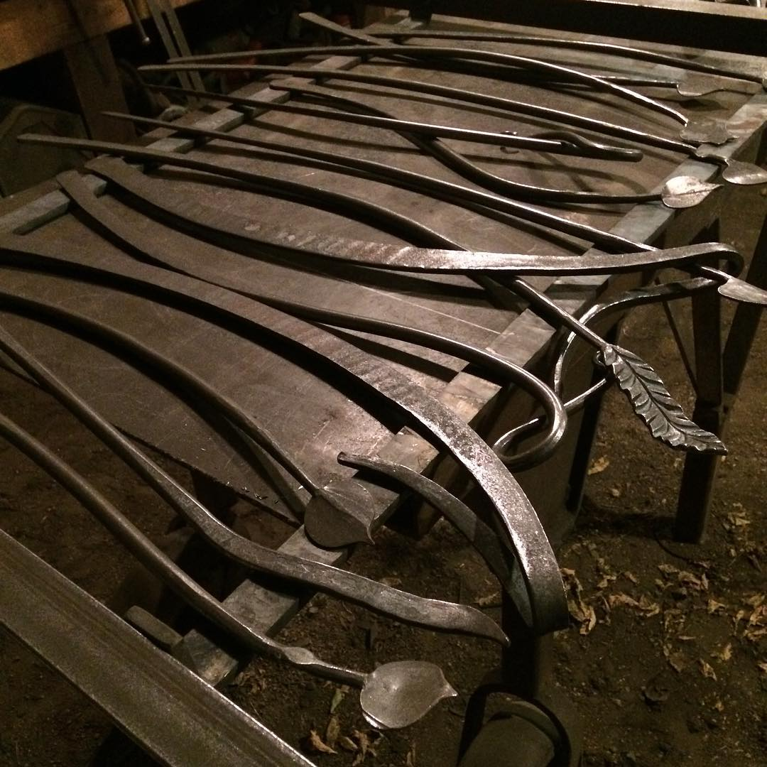 Tweaking the layout for the railing. #blacksmith #forged #organic #madeincanada