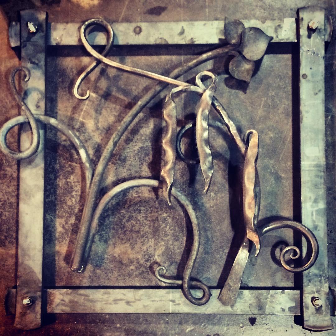 First look at the Scarlett's runner bean grille.  #blacksmith #forged #forgewelded #fire #ironwork #customironwork #madeincanada #harvest