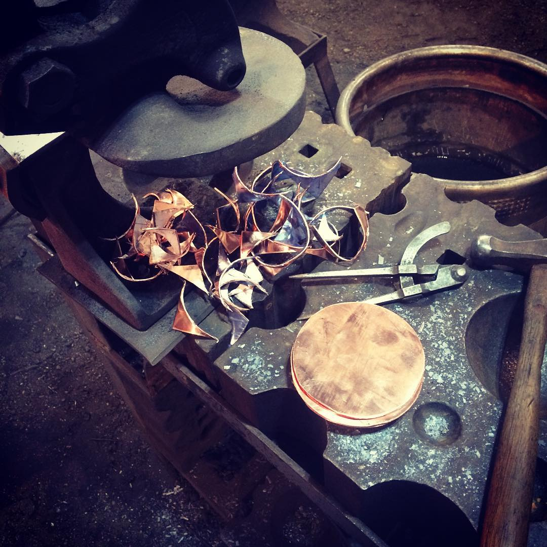 "All the blanks are cut for the #HammerDown2017 sponsored by #blackcatwearparts during @holidayalley. Come on out on Saturday and watch as we have two forges fired up and smiths competing to make ladles. Prizes for ""Longest Handle"", the ""Biggest Bowl"" and ""Juried Prize"". See ya there. #blacksmith #selkirk #manitoba #copper"