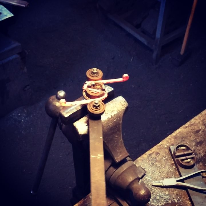 Working out the cut length for the buckle jig. #blacksmith #winnipeg #leather #customhardware